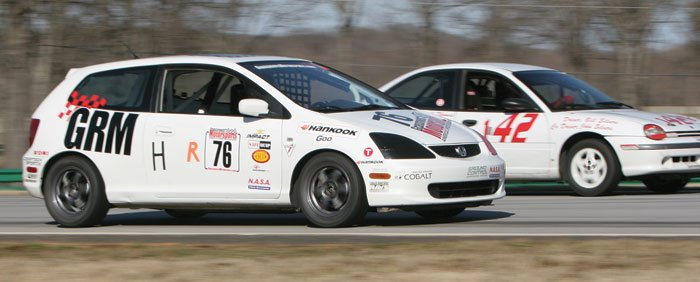 The side-by-side drill taught prospective racers that driving off line isn't that scary, and it's often the only available option even though it isn't the fastest way around the track.