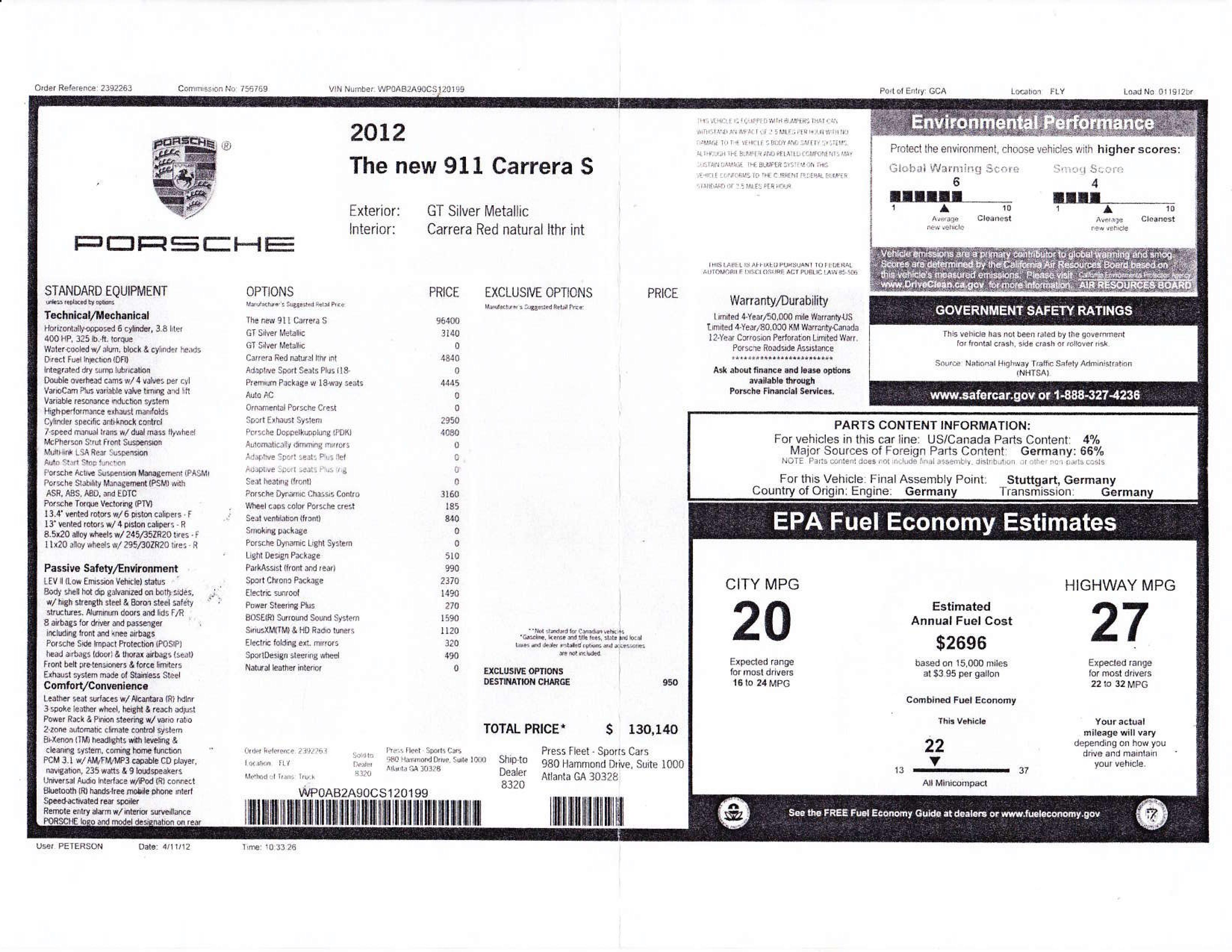 2012 porsche 911 carrera s  new car reviews